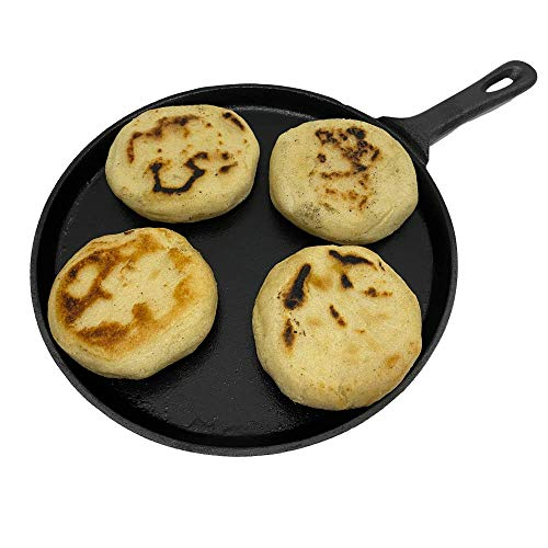 Erreke – Budare para Arepas, Pre Curado Antiadherente, Capacidad para 3 Arepas, Apto para Todos los Tipos de Cocina y Horno, 100% Hierro Fundido