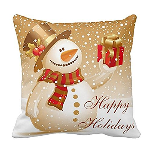Challyhope Vintage Vogue Throw Pillow Cases Linen Sofa Cushion Cover Home Decor (Snowman with Gift)