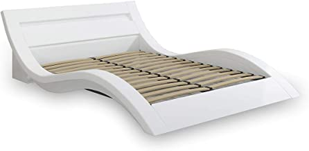 Modern White Leather Bed Frame with LED PU Leather Headboard- Queen