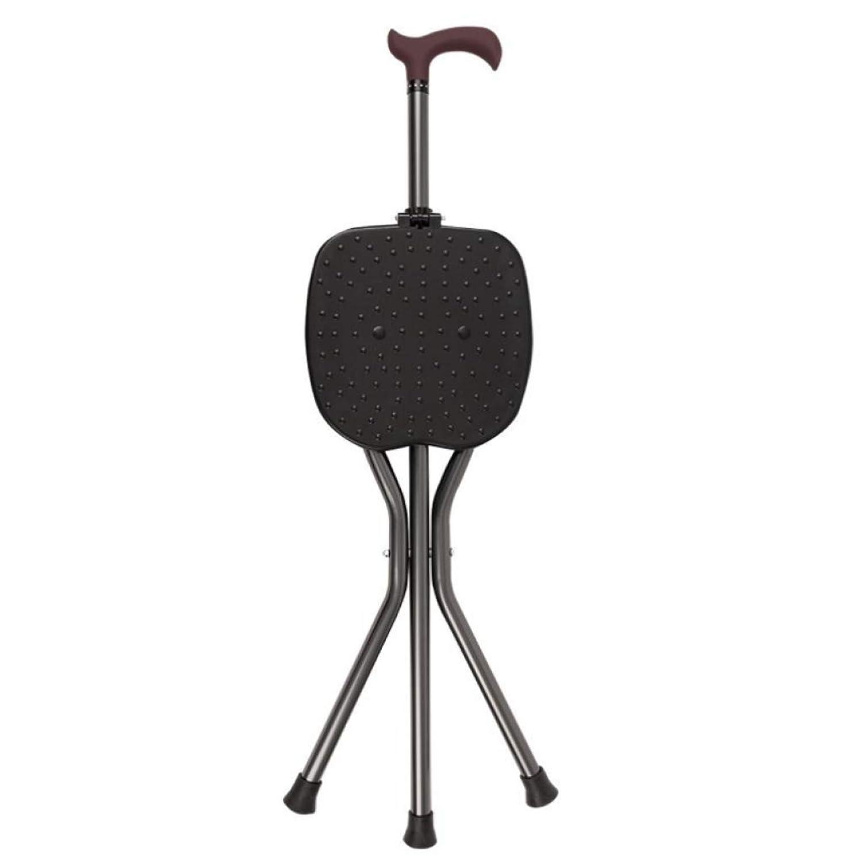HUYYA 座席付き杖、アルミ合金3フィート滑り止め折りたたみ式持ち運びが簡単丈夫で丈夫なステッキ