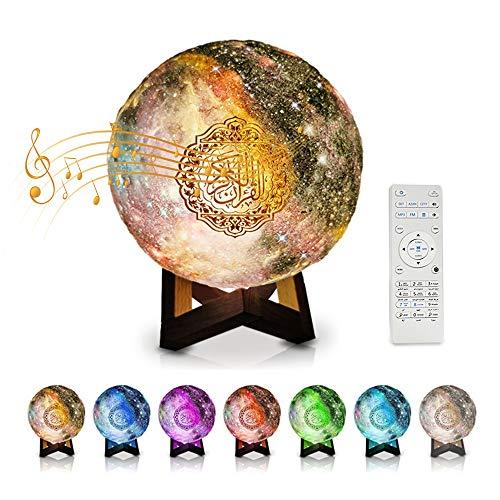 Quran Mond Lampe 3D Mondlicht Nachtlicht Smart Touch LED Lampe Bluetooth Lautsprecher Speaker 7 Farben Nachtlampe Farbwechsel Nachttischlampe Tischlampe