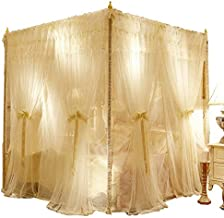 """CreepyBug 4 Corners Post Canopy Bed Curtain - Royal Luxurious Drape Netting - Double Layers Mosquito Net Bed Canopy Romantic Room Decoration Curtain (86"""" W*78"""" L*82"""" H/(Suggested for King), Ivory)"""