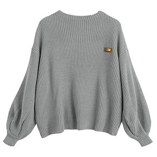 ZAFUL Damen Chevron Patches Oversized Pullover Sexy lose Große Langen Ärmeln V-Ausschnitt Fledermausflügel Herbst und Winter Ärmel Sweater Pulli Outwear(Grau)
