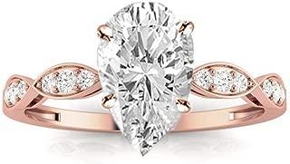 1.15 Carat t.w. Pear Petite Curving Diamond Engagement Ring I-J/VS1 Clarity Center Stones.