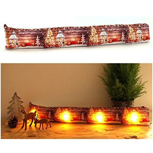 heimtexland ® Zugluftstopper mit LED Beleuchtung Fensterdekoration Tannenbaum Weihnachten Lichterkette Fensterdichtung Stimmungslicht Weihnachtsdeko Typ582