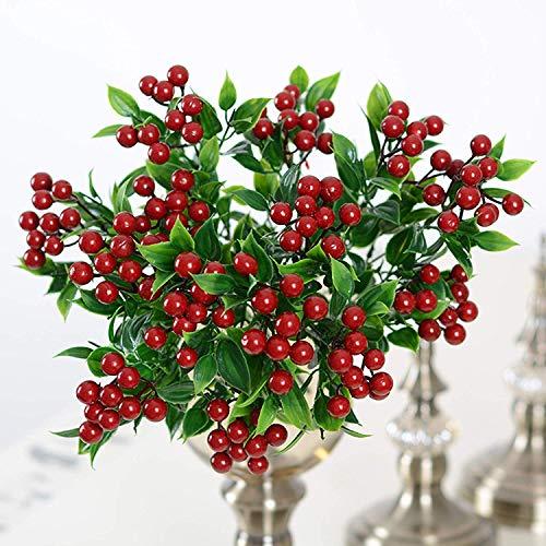 HZAMING Künstliche Weihnachtsblumen, rote Beeren für Weihnachten, Weihnachtsdekoration grün