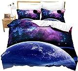 KWDDDEI Juego De Ropa De Cama Extra Grande 220X240 Cm 3 Piezas Púrpura Galaxia Estrella Planeta Ciencia Ficción Paisaje Microfibra 3D Impreso Juego De 1 Funda Nórdica Y 2 Funda De Almohada,para Ni