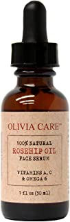 OLIVIA CARE Rosehip Seed Oil Serum Moisturizer for Face, Acne Scars/Blemish reduction, Wrinkles, and Sun Spots. 100% All Natural, Skin Cell Renewal therapy with Vitamins E, A, C & Omega 6