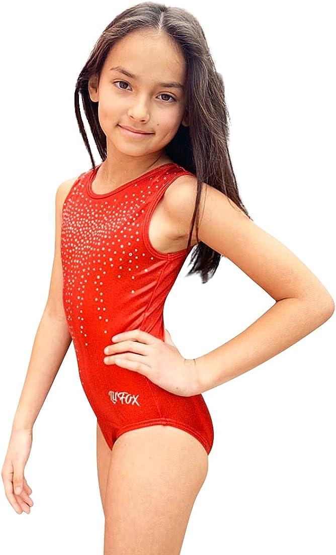 LIL'FOX Gymnastics Leotards for Girls Limited price sale San Francisco Mall Dan FOIL SHINY SHIMMER -
