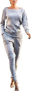 2Pcs Women Solid Tracksuit Sweatshirt Regular Sleeve Long Pants Sport Lounge Wear Suit Sets