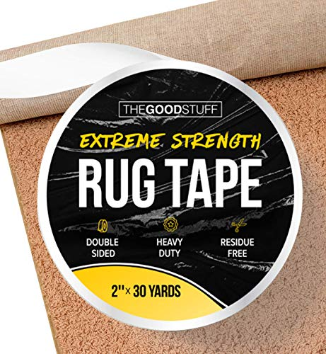 "Heavy Duty Double Sided Rug Tape for Area Rugs on Hardwood Floors and Carpet, Secure Rugs with Strong 2 Sided Carpet Tape for Wood Floors (2"" x 75ft)"