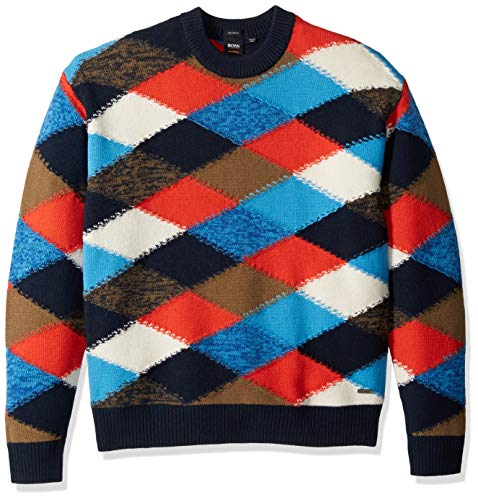 BOSS Orange Men's Kargyl Oversized Multicolor Argyle Intarsia Sweater, Dark Blue, XL
