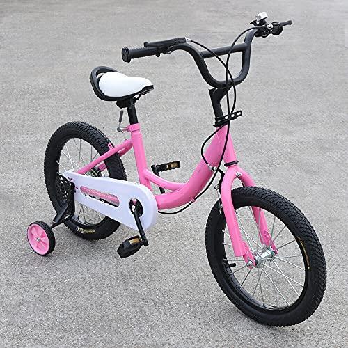 Bicicleta infantil + bicicleta auxiliar, 16 pulgadas, color rosa