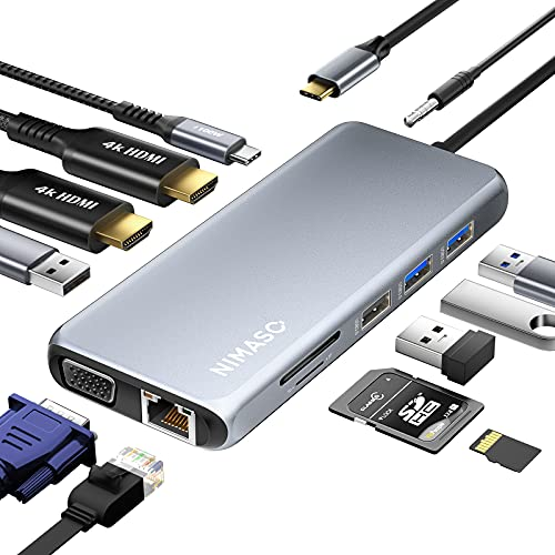 NIMASO Docking Station,12 in 1 USB C Hub mit Triple Display,Dual 4K HDMI&VGA,100W PD,2*USB 3.0&2.0, Gigabit Ethernet LAN,TF/SD Kartenleser,3.5mm Audio/Mikrofon