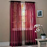 Awad Home Fashion 2 Panels Solid Burgundy Sheer Voile Window Curtain Treatment Drapes 55' X 84'