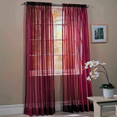 """Awad Home Fashion 2 Panels Solid Burgundy Sheer Voile Window Curtain Treatment Drapes 55"""" X 84"""""""
