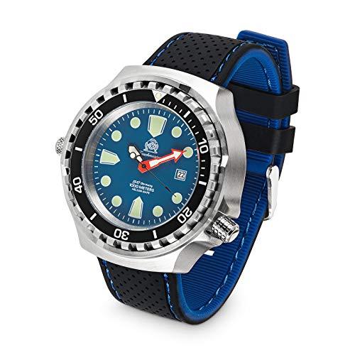 Tauchmeister Reloj de buceo automático T0315SE XXL 100 ATM correa de silicona 52 mm