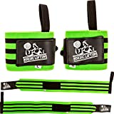 Nordic Lifting Wrist Wraps Super Heavy Duty (1 Pair/2 Wraps) 24' Support for Weight Lifting | Powerlifting | Gym | Cross Training - Weightlifting Thumb Loop - Men & Women (Green)-1 Year Warranty