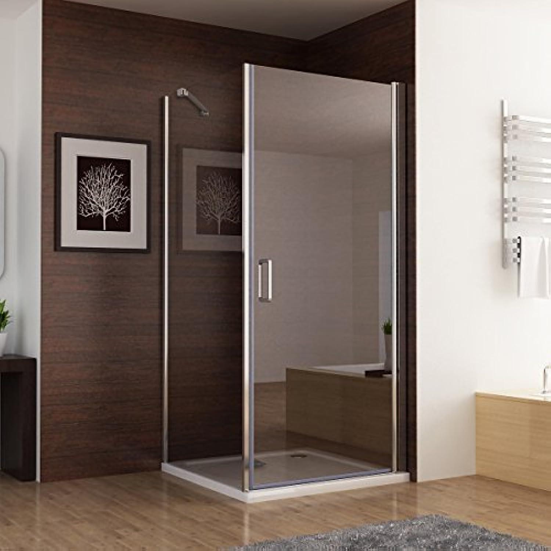 100 x 80 (Seitenwand) x 195cm Duschkabine Dusche Duschwand 180° Schwingtür Eckeinstieg mit Duschwanne Duschtasse