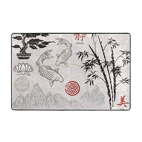 kThrones Tapis de Bain Tapis,Rouge Japonais Asiatique Encre Brosse Ornements Aquarelle Chinois coréen Bambou Tapis de Salle de Bain 45 cm x 75 cm