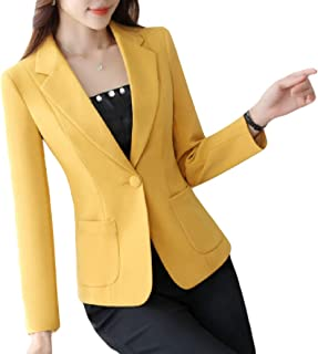 neveraway Women's Work Solid-Colored Fitted One Button Blazer Suit Coat Tops
