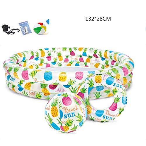TBYGG Piscina Hinchable 3 Aros círculos 132 * 28cm,Piscina Inflable para Niños Pequeñas Piscina Hinchable Colores