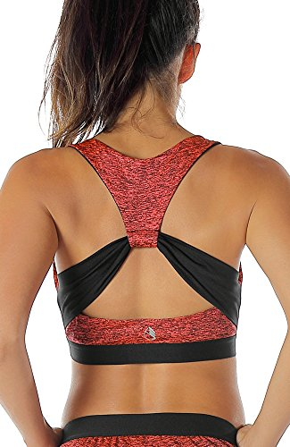 icyzone Damen Sport-BH Ohne Bügel Bustier Racerback Yoga BH mit Abnehmbare Gepolstert (S, Red Bud)