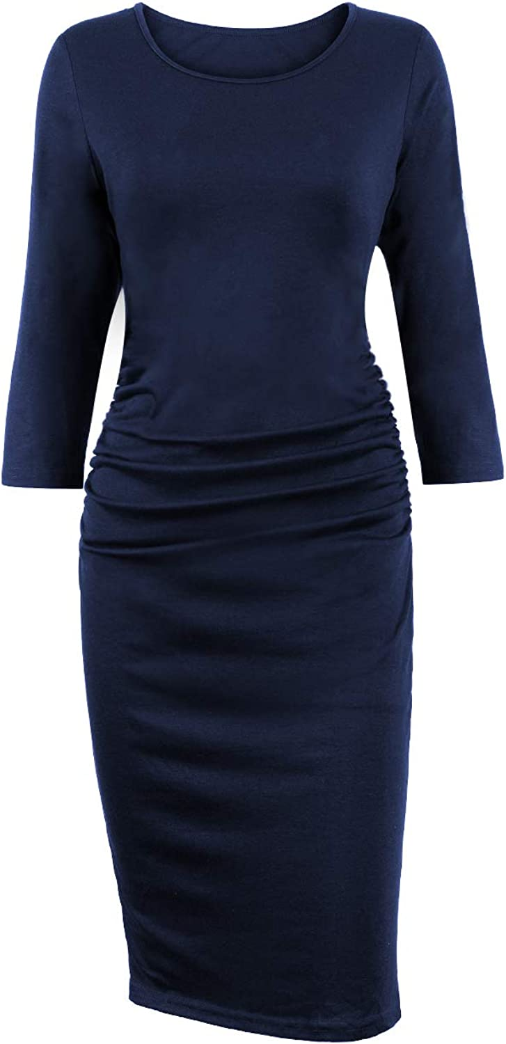 Akivide Women's Ruched Casual Midi Bodycon Dress 3 4 Sleeves