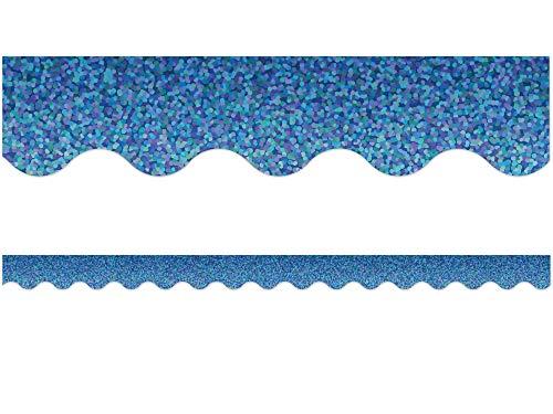 Blue Sparkle Scalloped Border Trim
