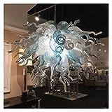 Iluminación de techo Luces de araña de cristal modernas for la sala de estar decoración azul y blanco 24 pulgadas de vidrio soplado a mano DIRIGIÓ Lámpara colgante de cadena ( Size : W24xH24 Inches )