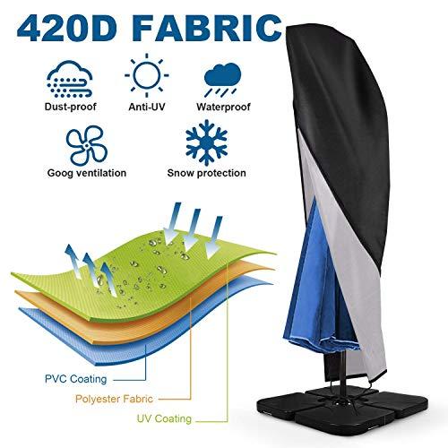 Sonnenschirm Schutzhülle mit Stab, Sonnenschirm Abdeckung 420D-Oxford-Gewebe Wasserdicht / staubdicht / UV-Schutz / Schneesturm Ampelschirm Schutzhülle mit Reißverschluss und Aufbewahrungstasche - 2