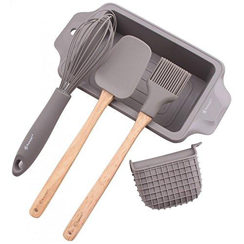 Kassel 93704 5-teiliger Küchenzubehör-Set aus Silikon für Brot- oder Kuchenbacken, Silicone, wood, Grau