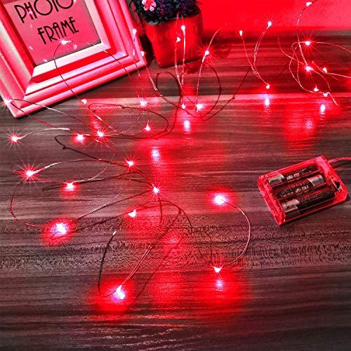 Luces Led a Pilas, Ariceleo 2 Piezas 5 Metros 50 LED Mini LÁMpara Alambre de Cobre Guirnalda Cadena Luces de Navidad con Pilas para Casa Dormitorio Navidad Fiestas Boda DecoraciÓN(Rojo)