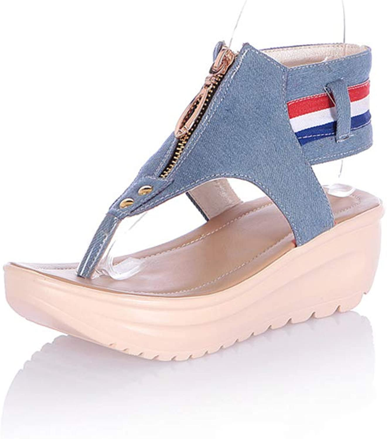 Women Sandals Ladies Beach Slippers Punk Denim Pin Toe Comfy Peep Toe Buckle Breathable shoes Leather Casual shoes,A,42