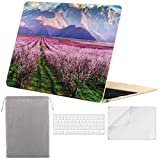 Sykiila for MacBook 12 inch Case Hard Cover 4 in 1 Folio Case & HD Screen Protector & Keyboard Cover & Sleeve for Model A1534 with Retina Display - Cherry Tree on Mountain