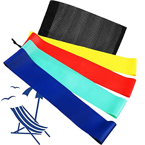12 Pieces Chair Clips Bands Elastic Wrapping Bands Latex Beach Chair Band Rubber Bands Multi-Purpose Towel Band for Pool Chairs with Black Mesh Bag, 4 Colors