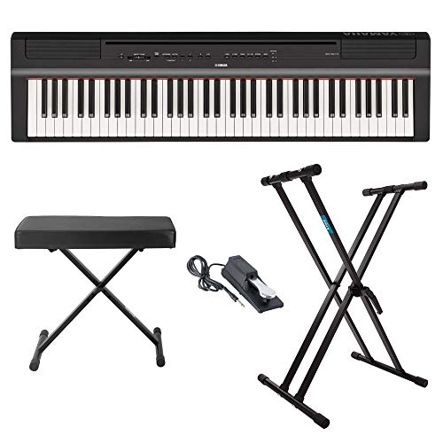 Cheap Yamaha P121B 73 Weighted Keys Digital Piano (Black) with Knox Gear Piano Bench, Stand and Sust...