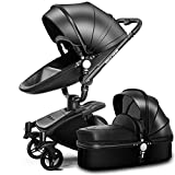 SpringBuds Baby Stroller Bassinet Carriage Combo 360 Rotation 2-in-1 Shock-Resistant High Landscape Luxury Pram Infant Stroller for Newborn and Toddler (Gloss Black)