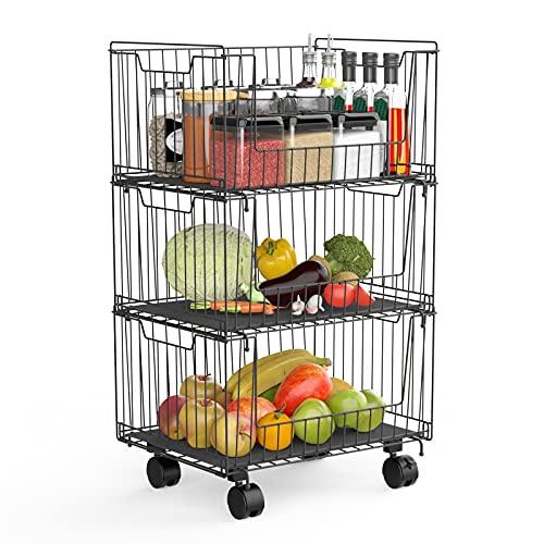 Cestas de Frutas con Ruedas, 3 Niveles Fruteros de Cocina Modernos para, Cocina, Frutas, Verduras, Artículos de Tocador, Negro