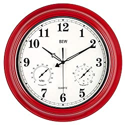 BEW Large Outdoor Clock, Waterproof Wall Clock with Thermometer and Hygrometer Combo, Weather Resistant, Silent Metal Pool Clock for Garden, Patio, Fence, Porch (18-Inch, Empire Red)