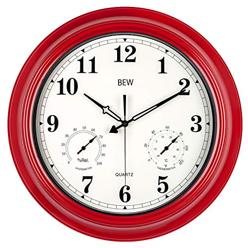 BEW Large Outdoor Clock, Waterproof Wall Clock with Thermometer and...