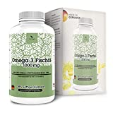 Olio di Pesce Omega-3 1000mg di VITA1 • 365 capsule softgel (fornitura per 4 mesi) • con EPA, DHA e Vitamina E • Fatto in Germania