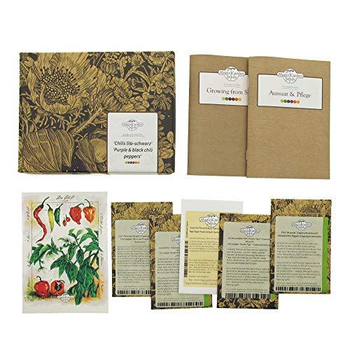 Piment pourpre et noir - Coffret cadeau de semences avec 5 variétés décoratives pour cultiver vos propres piments forts