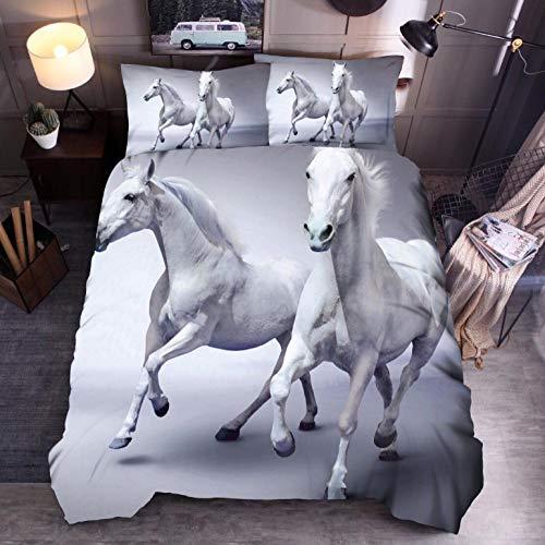 Biancheria da letto king size 260 x 240cm,Cavallo e bianco set copripiumino,microfibra stampato 3D ipoallergenica 1 copripiumino con chiusura lampo + 2 federe 50 x 75 cm