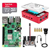 LABISTS Raspberry Pi 4 8GB Starter Kit Motherboard 128GB SD Card Preloaded with Raspbian, Cooling Fan, 5.1V 3A Type C On/off UK Edition Power Supply, Micro HDMI Cable x 2, Black Case