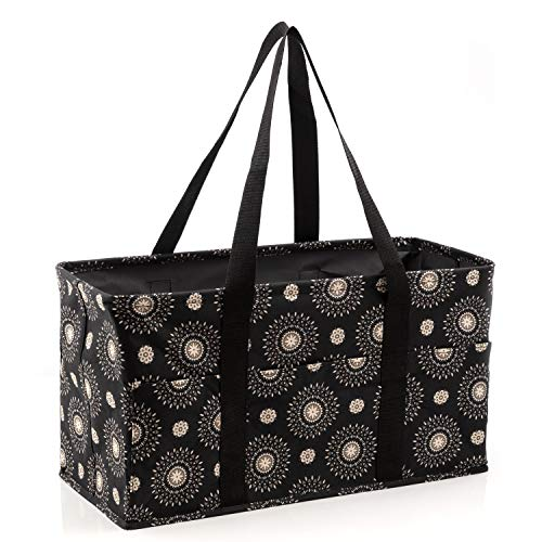 Pursetti Extra Large Utility Tote Bag for Women with 6 Exterior Pockets Perfect as Beach Bag, Pool Bag, Laundry Bag, Storage Tote for Ballgame, Beach, Pool, Home Dorm (Cool Mandala)