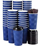 Disposable Coffee Cups with Lids and Straws - 20 oz (90 Set) Togo Hot Paper Coffee Cup with Lid To Go for Beverages Espresso Tea Insulated Reusable Cold Drinks Ripple Cups Protect Fingers From Heat!