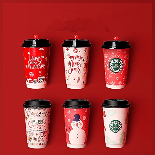 PPuujia Tazas de café desechables de papel de doble capa para tazas de Navidad y tazas de papel de té de leche de Año Nuevo con tapas (color: solo tapa1, número de piezas: 50 unidades)