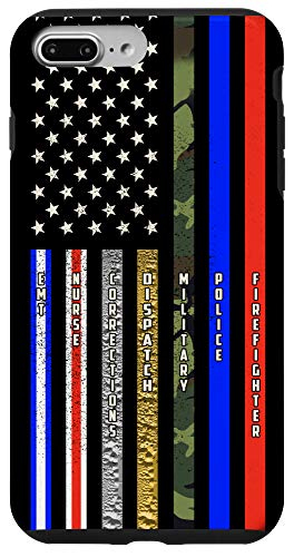 iPhone 7 Plus/8 Plus First Responders American Flag Thin Line Support Case