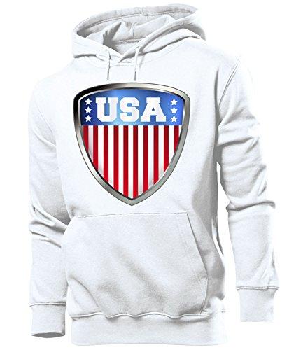 love-all-my-shirts USA 4691 Fussball Fanhoodie Männer Herren Hoodie Pulli Kapuzen Pullover Fanartikel Weiss L